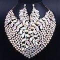 Африканский Ювелирных Изделий Позолоченный Большой Кристалл Ожерелье набор для Новобрачных Свадьба Ювелирные наборы