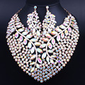 African Jewelry Gold Plated Big Crystal Rhinestones Necklace set for Bridal Wedding Party Jewelry sets