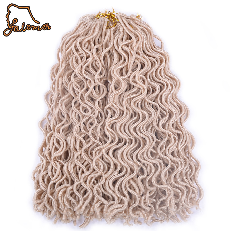 FALEMEI 18inch 5 Packs 24 Strands/Pack 18inch Wavy Faux Locs Synthetic Crochet Braids Hair Extension Soft Locks Bug Blonde Black