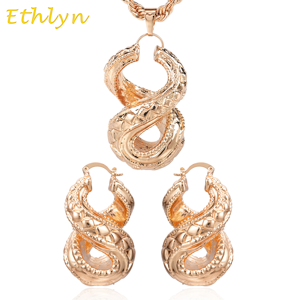 Ethlyn Hollow earrings sets Rose Gold Copper Cross Number Eis
