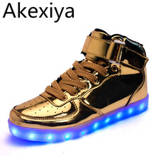 Akexiya Hot Sale Golden Silver Big Size 46 Led Shoes Men Glowing Cool Light Flat Shoes High-top Light Up Boots For Adults