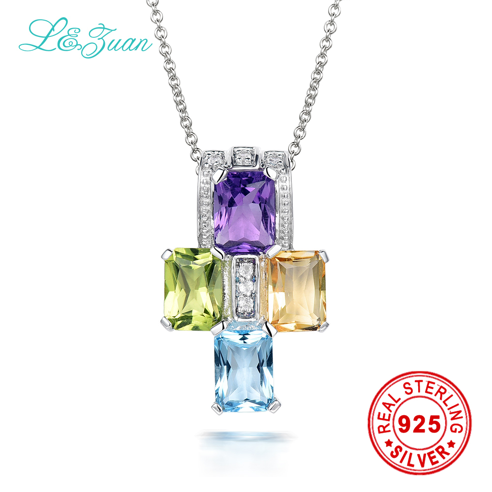 l&zuan colorful natural gems pendant Natural 1.094ct Amethyst trendy Pendant with 925 silver necklace sterling silver jewelry цена и фото