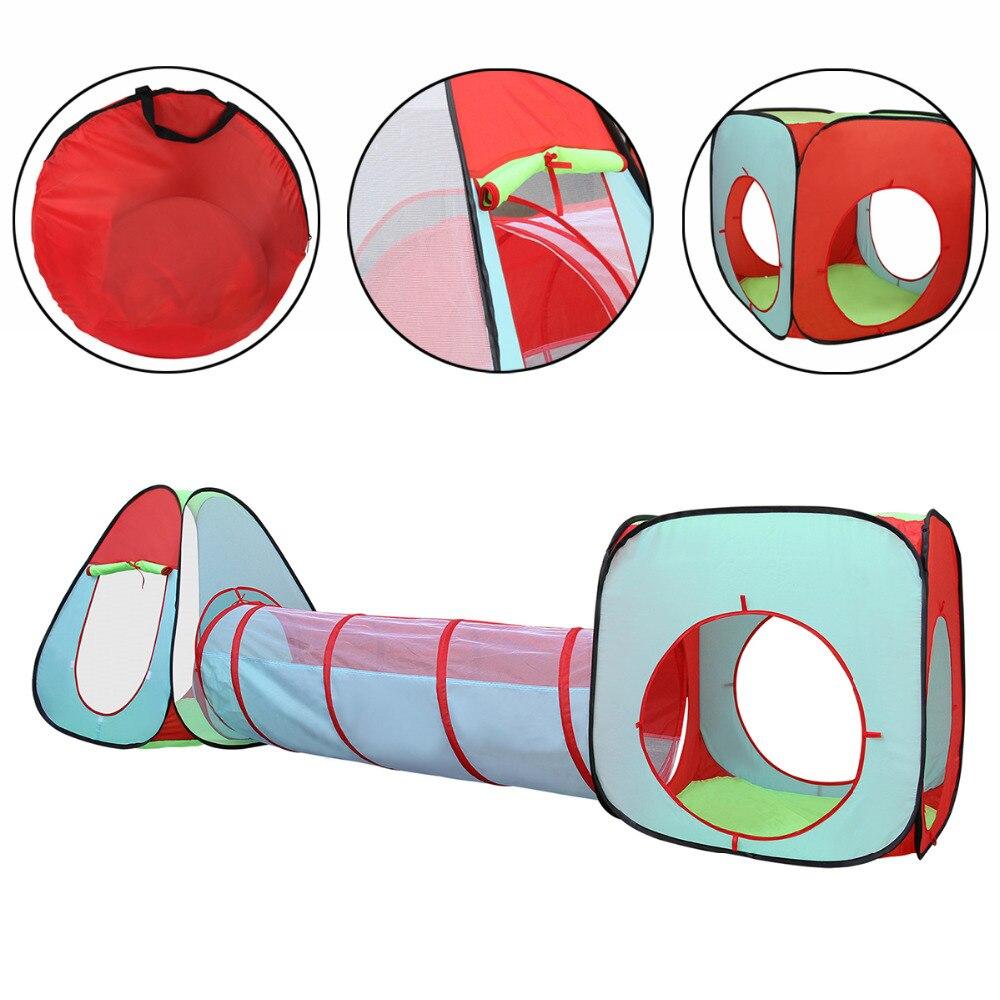 3 Pcs Enfants Tente Bébé Jouets Ensemble de Carré Cubby Enfants maison de Jeu Triangle et Cylindre Printemps-Pop Tunnel Boules Piscine