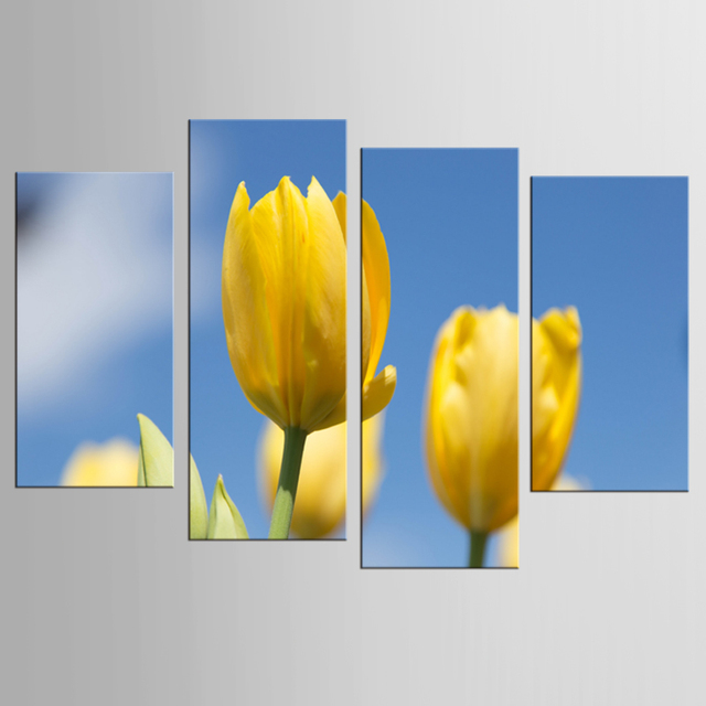 4 Panel Canvas Wall Art Panel HD Printed Yellow Flower Painting ...