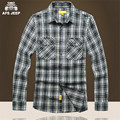 AFS JEEP Wholesale Price Man's 2017 Spring Long Sleeve Cotton Shirt, Casual Plus Size Chest Pockets Plaid Cotton Shirts Buttons