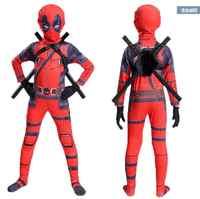 Livraison gratuite Costume enfant Deadpool avec masque super-héros Costume cosplay garçon une pièce complet body Halloween enfant costumes pour la fête
