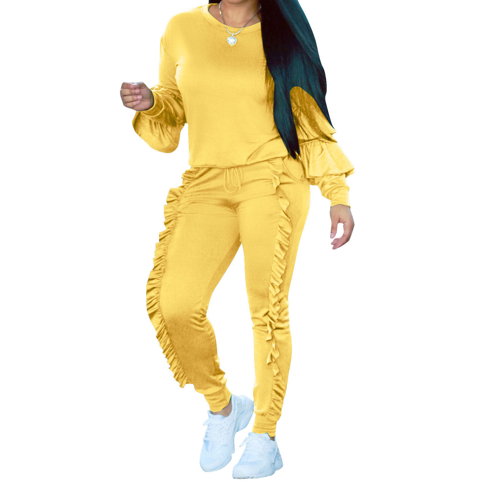 Autumn Two Piece Set Tracksuit Women Pink Long Sleeve Sweatshirt Hoodies + Ruffle Pants Solid Plus Size Casual Outfit Sweat Suit