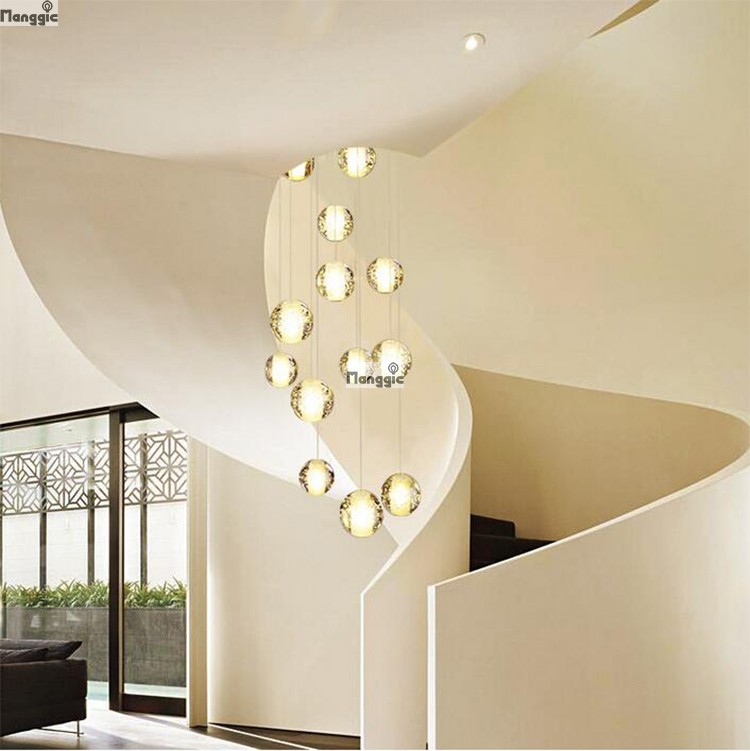 Modern LED Crystal Ceiling Lights Fixtures Magic Crystal Ball Lustre Loft  Stairwell 14 Crystal Light Meteor Shower Crystal Lamp In Ceiling Lights  From ...