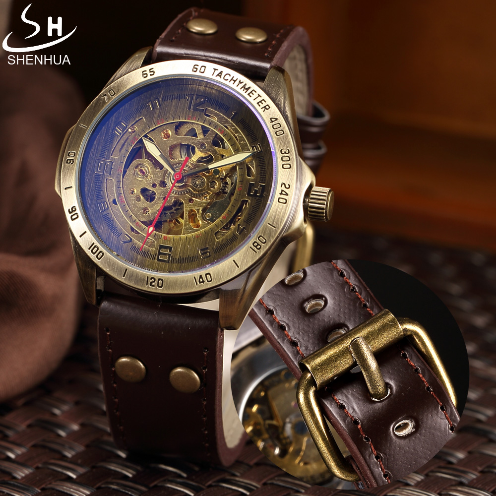 a7637cc09aa Reloj Mecánico hombres SHENHUA Retro bronce deporte de lujo marca superior  reloj de cuero esqueleto relojes automáticos reloj Masculino en Relojes ...