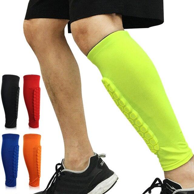 cc4b96a814ffd 1PCS Football Shin Guards Protector Soccer Honeycomb Anti-crash Leg Calf  Compression Sleeves Cycling Running