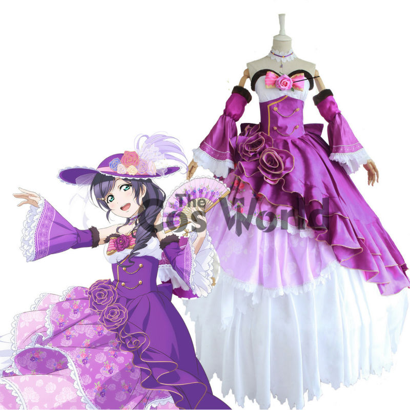 Love Live School Idol Project Tojo Nozomi Dancing Party Dresses Court Full Dress Uniform Outfit Anime Cosplay Costumes