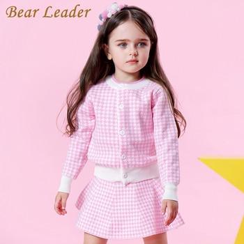 Bear Leader Girls odzież ustawia 2019 moda dziewczyny ubrania z długim rękawem różowy wzór w kratę + spódnice w kratę 2 sztuk zestawy ubrań dla dzieci