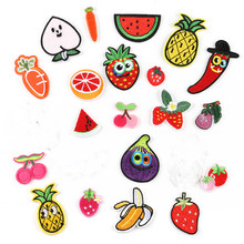 Fruit Pineapple Vegetable Embroidery Iron on Patches for Clothing Stripe Clothes Cute DIY Sequin Applique Badge