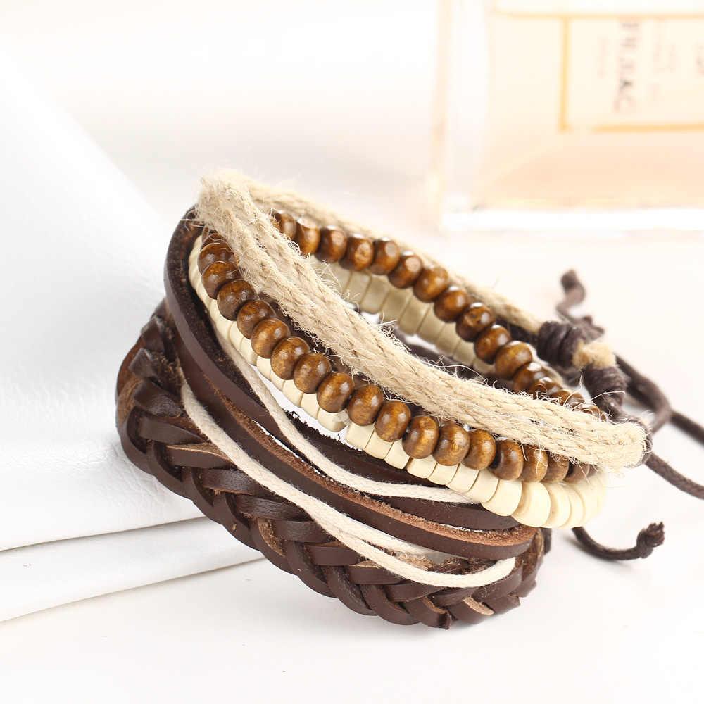 HOMOD 4Pcs/lot  Vintage Multilayer Genuine Leather Bracelets for Male Cuff Bracelet Beads Braclet Women Braslet Men Pulseras
