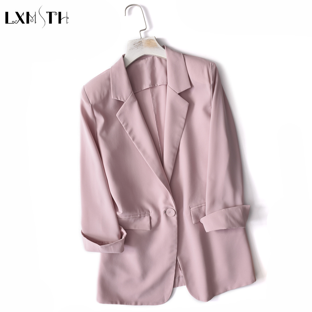 Summer Autumn Jacket Coat Women 2019 Fashion Thin Single Button Long Sleeve Chiffon Blazer Ladies Business Suit Casual Outerwear