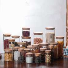 1 шт., стеклянная бутылка для хранения продуктов, Бамбуковая крышка, герметичный контейнер для зерен и орехов, контейнер для кухни, коробка для хранения продуктов, контейнер JM 004