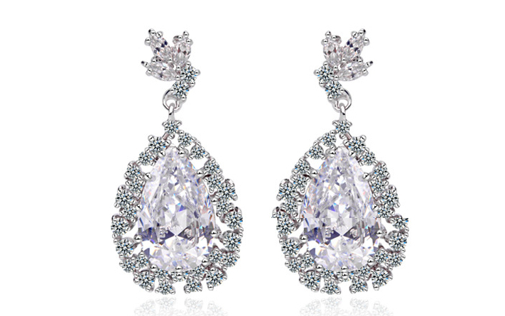 Cubic Zirconia Women's Water Droplets Big Drop Earrings Luxury Austrian Crystal Female Wedding Earrings Fine Jewelry