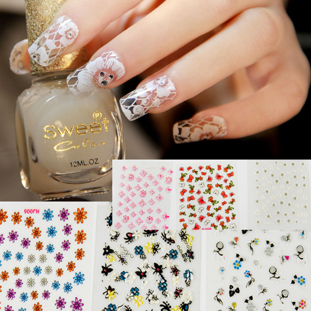 New Fashion 30 sheets Mix color 3D Floral Design Nail Art Stickers ...