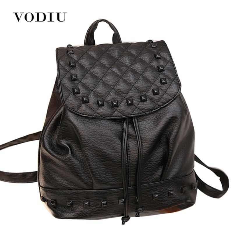 2017 Luxury Cool Designer Rivet Plaid Leather Backpack Drawstring Women Bag School Notebook Rucksacks For Teenage Girls Mochila