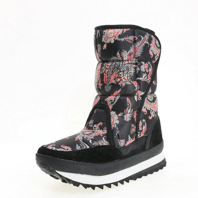 Caldo scarpa femminile 2019 di nuovo stile di disegno del fiore di inverno doposci sacchetto di nylon di stampa superiore della mucca pelle scamosciata vincolante più il formato libero la nave