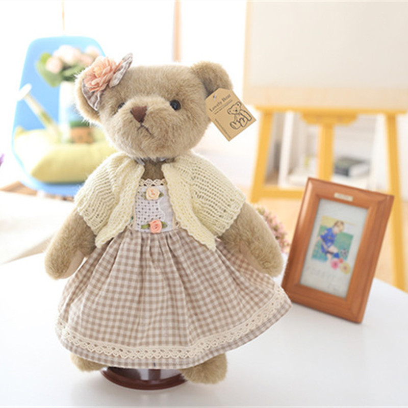 High Quality Super Cute Couple Teddy Bears in Skirt Plush Toys Stuffed Dolls 1 Pair 35cm-in Stuffed & Plush Animals from Toys & Hobbies    3