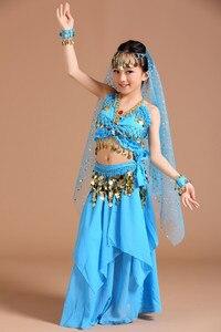 Image 3 - 5 stücke 1 set Mädchen Bauchtanz Kostüme Kinder Bauch Tanzen Mädchen Bollywood Indische Leistung Dancewear Kinder Oriental Dance