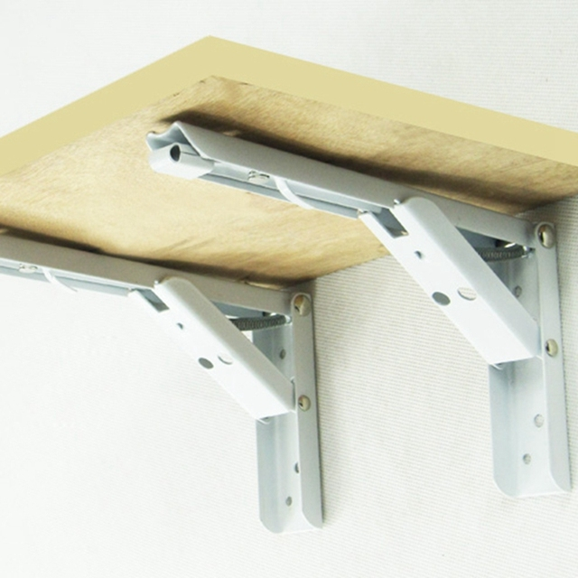 reliable folding strut detail bracket wall product shelf stainless metal steel