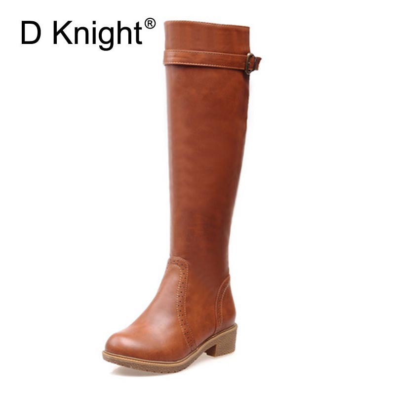 Women Knee High Riding Boots Fashion Round Toe Flat Knight Boots For Women Vintage Ladies Casual Flat  Autumn Winter Tall Boots enmayer green vintage knight boots for women new big size round toe flock knee high boots square heel fashion winter motorcycle