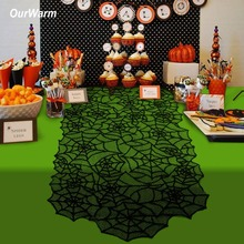 OurWarm Halloween Mantel Table Decoration 51x203cm Spider Web Lace Table Runners Fireplace Christmas Halloween Decoration Horror ourwarm 1pc halloween table cloth party table decoration spider web lace design rectangle tablecloth with ghost party decoration