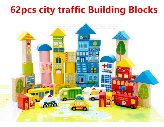 62 قطعة لون السلامة الكرتون صور مدينة المرور المشهد خشبية ألعاب مكعبات البناء الأطفال التعليم لعبة هدية