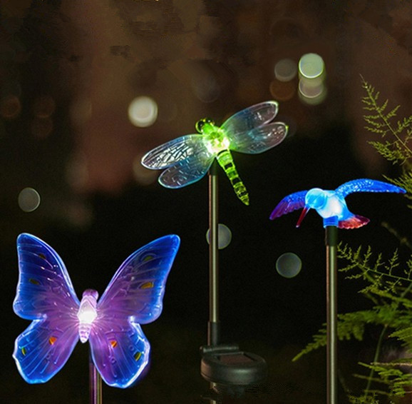 Solar Color Changing Led Light Outdoor Dragonfly Erfly Bird Type Lamp Garden Decor