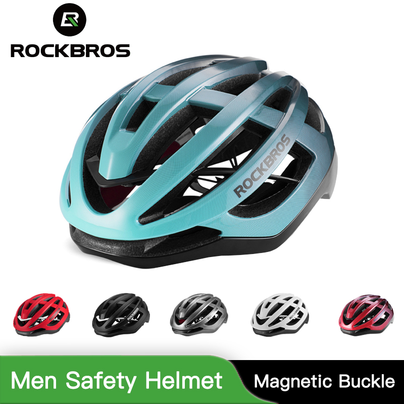 ROCKBROS Ultralight Helmet Bike Bicycle In Mold Adult Men Safety Helmet Cycling Breathable Comfort Magnetic Buckle