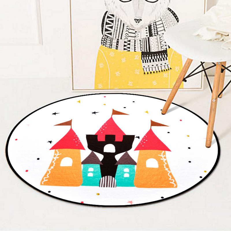 Cartoon Castle Pattern Kids Play Game Round Carpet Rugs Crawling Blanket Floor Mats For Living Room Decoration Baby Gifts Tapete