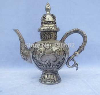 Antique antiques Collectible Decorated Old Handwork Tibet Silver Carved Double fishes Big Teapot/Flagon