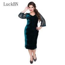 2019 Large Size Dress Thicken Lace Women Velvet  Spring Autumn Dresses Female Clothing Plus L-6XL Tunic Vestidos Blue
