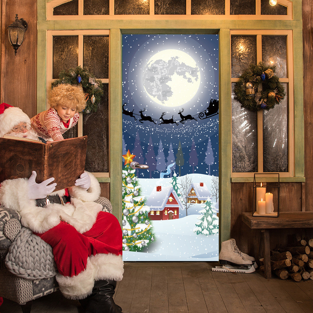 Christmas Gift Door Cover: Christmas Eve Door Cover Holiday Covers Decoration 30 Inch