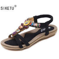 Plus Size 42 45 New National Style Women Sandals Bohemia Flats Beaded Size Foreign Trade Shoes
