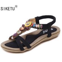 Siketu размер 42-45 новые национальные женские босоножки на плоской подошве в богемном стиле бисером Размеры внешней торговли обувь Летние женские туфли обувь Лидер продаж