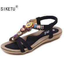 SIKETU Size 42-45 New National Women Sandals Bohemia Flats Beaded Size Foreign Trade Shoes Summer Shoes Women Shoes Hot Sell