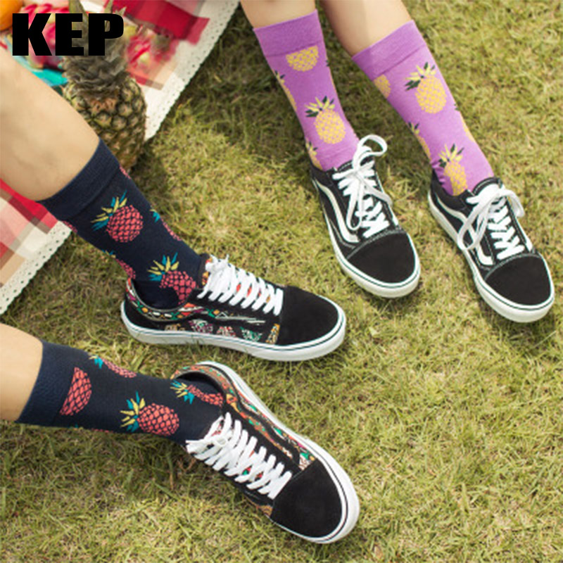 KEP Trend Fashion Hot Fruit Combed Cotton Long Socks Men Women Unisex Crew Funny