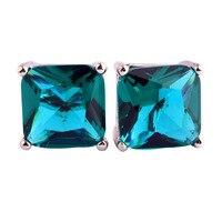 New Fashion Women Jewelry Endearing Princess Cut Green Topaz 925 Silver Stud Earrings Whlesale Free Shipping