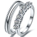 Statement Real Solid 18K 750 White Gold Pair Rings 0.7CT Simulates Diamond His and Her Love Promise Lover's Jewelry Ring