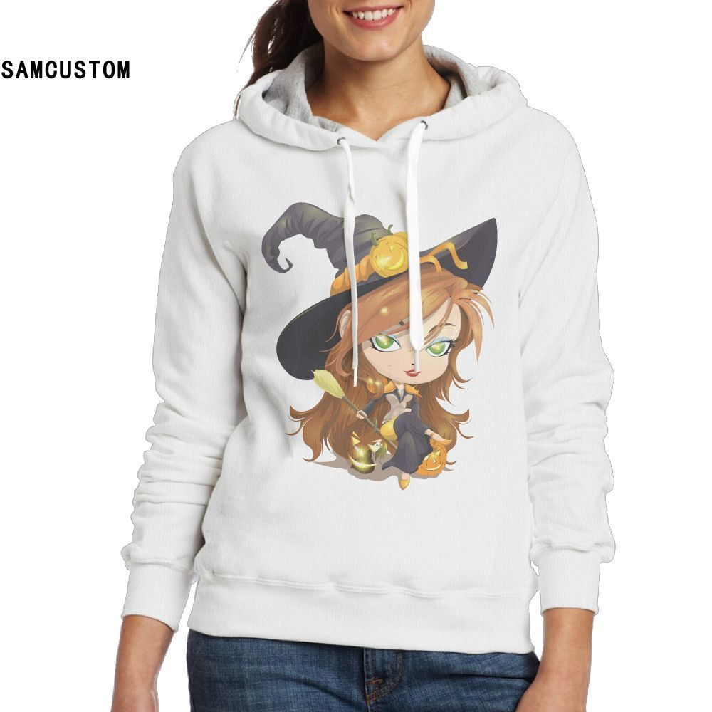 samcustom ladies hoodies and no pockets sweatshirts happy halloween witch on broom stars 3d print fashion hoodie for women in hoodies sweatshirts from