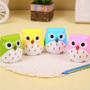 Image 4 - 24pcs/lot Cute Owl design Double orifice Mini pencil sharpener 4 colors pencil sharpener Wholesale