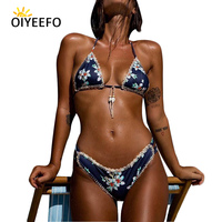 Oiyeefo Knit Crochet Bikini 2018 Shell Women Swimwear Female Halter Brazilian Biquine Floral Swimsuit Beach Bathers