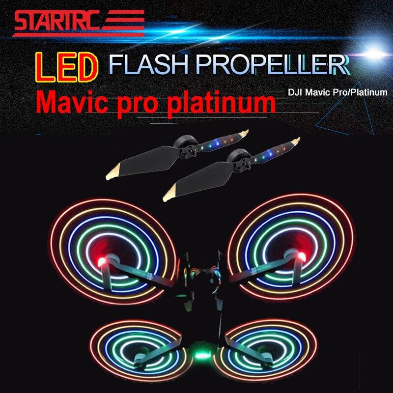 2 Paires DJI Mavic pro Platine LED Flash 8331 hélices À Faible Bruit Rapide-Libération Hélices Pour DJI Mavic pro/platine Drone