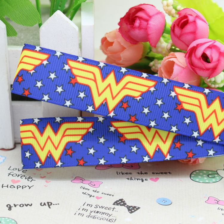 7/8 Free shipping wonder woman printed grosgrain ribbon hairbow diy party decoration wholesale OEM 22mm P2203