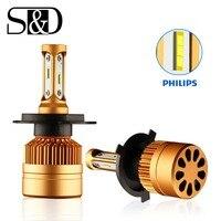 2Pcs H4 LED Headlight Bulbs With Philips Chip H7 LED Car Lamp H11 H8 H9 H1