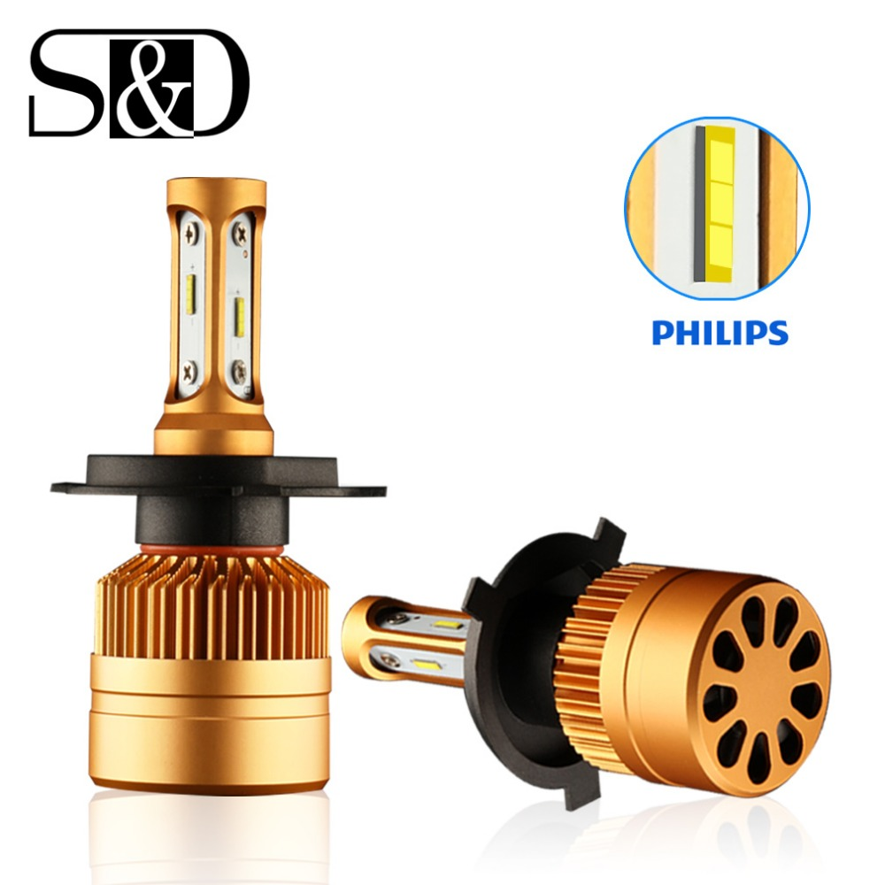 2pcs h4 led headlight bulbs with philips chip h7 led car. Black Bedroom Furniture Sets. Home Design Ideas