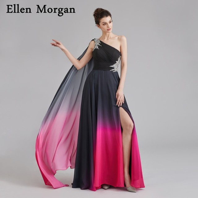 Sexy Gradient Ombre Chiffon Prom Dresses 2019 Beautiful Girls Long One shoulder Beading Split Runway Fashion Formal Evening Gown